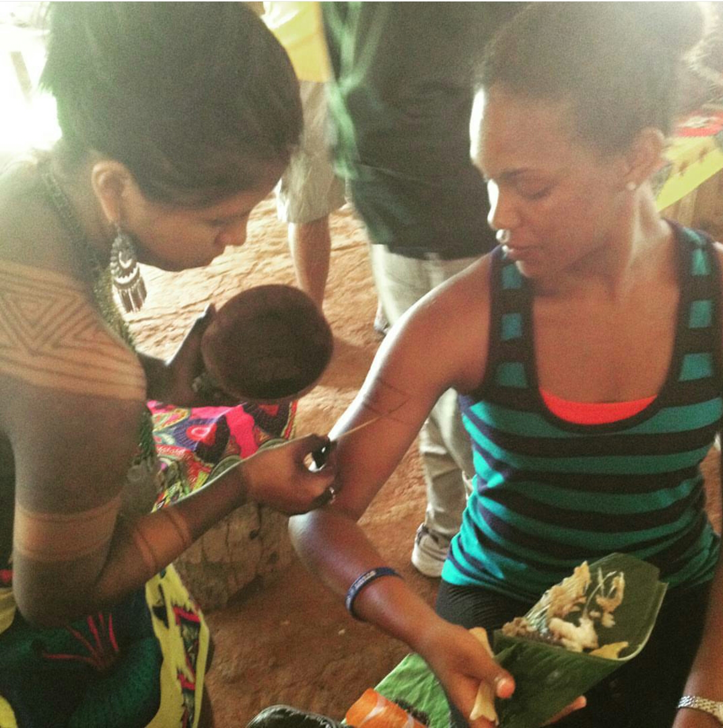 Teisha in Panama with local Tribe as she gets a temporary tattoo and eats local delicacies.