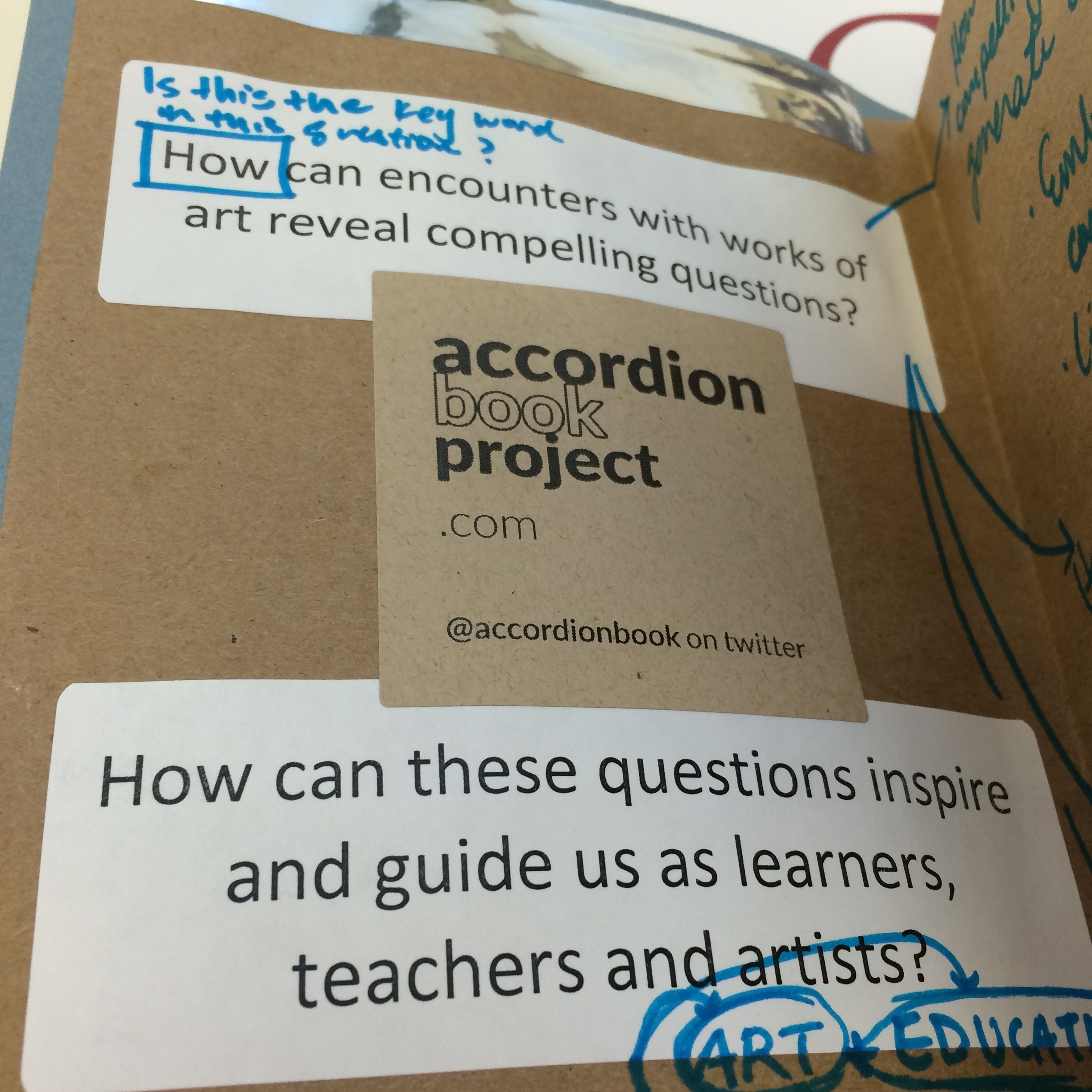 Front page with the APL's guiding questions and a sticker from the accordionbookproject