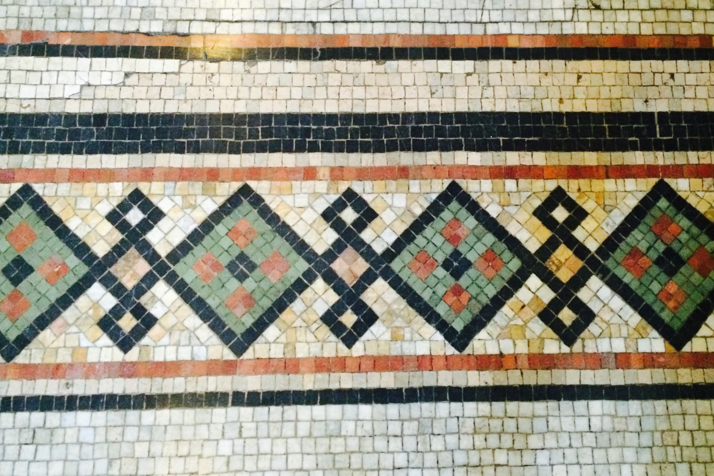 Tile work in the lobby