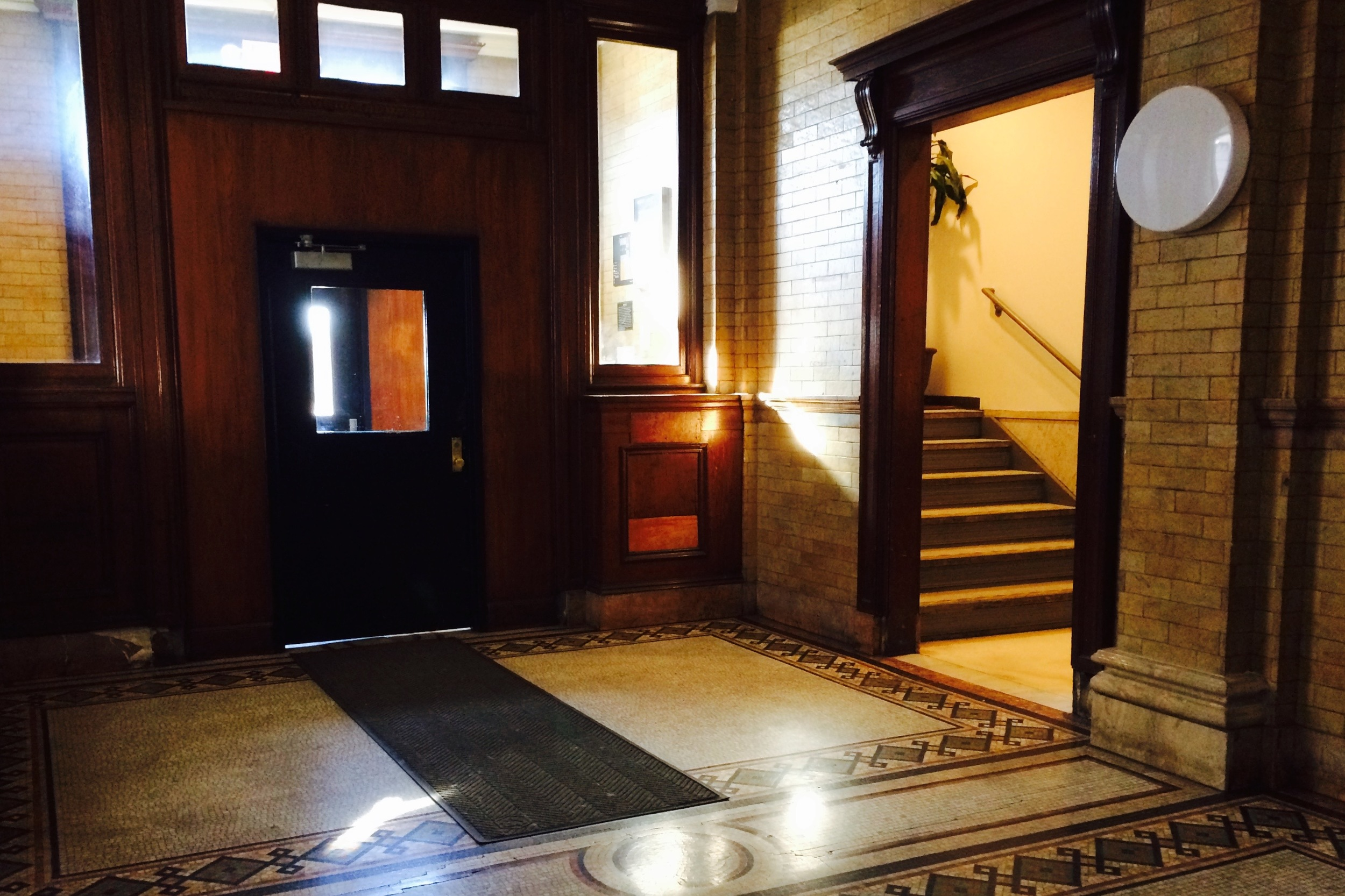 The elevator lobby