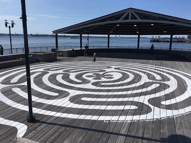 All finished! Post and tag us when you visit #labyrinthno9 & we'll repost you! 💛📻 And stay tuned - we'll be sharing news about our ribbon cutting and other summer events soon! #publicart #interactiveart #installationart #labyrinth #jowengrundypier #jerseycity