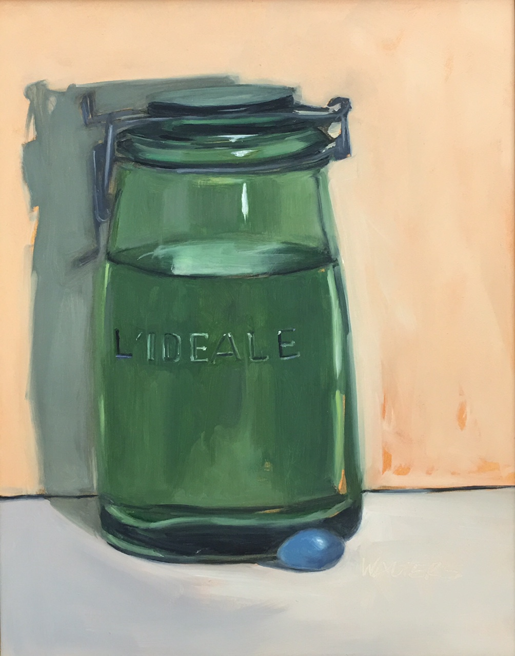 Green Jar with Blue Egg