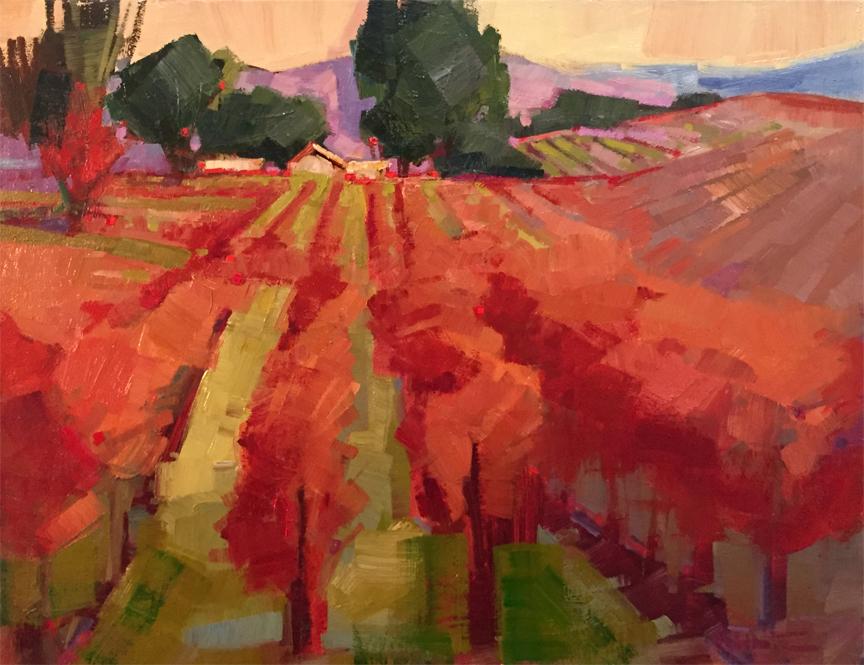 November Vines with Peach Sky
