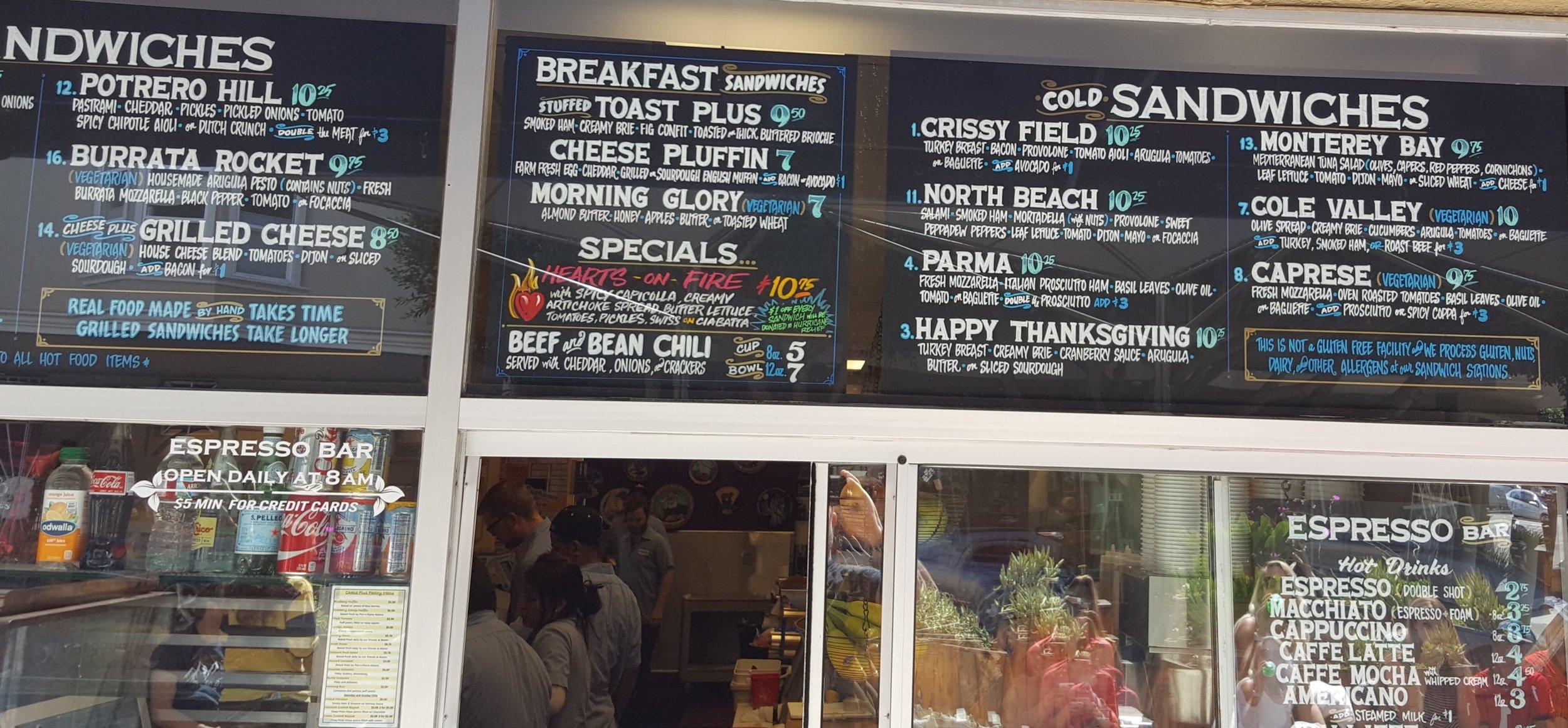 The sandwich menu at the sidewalk cafe.