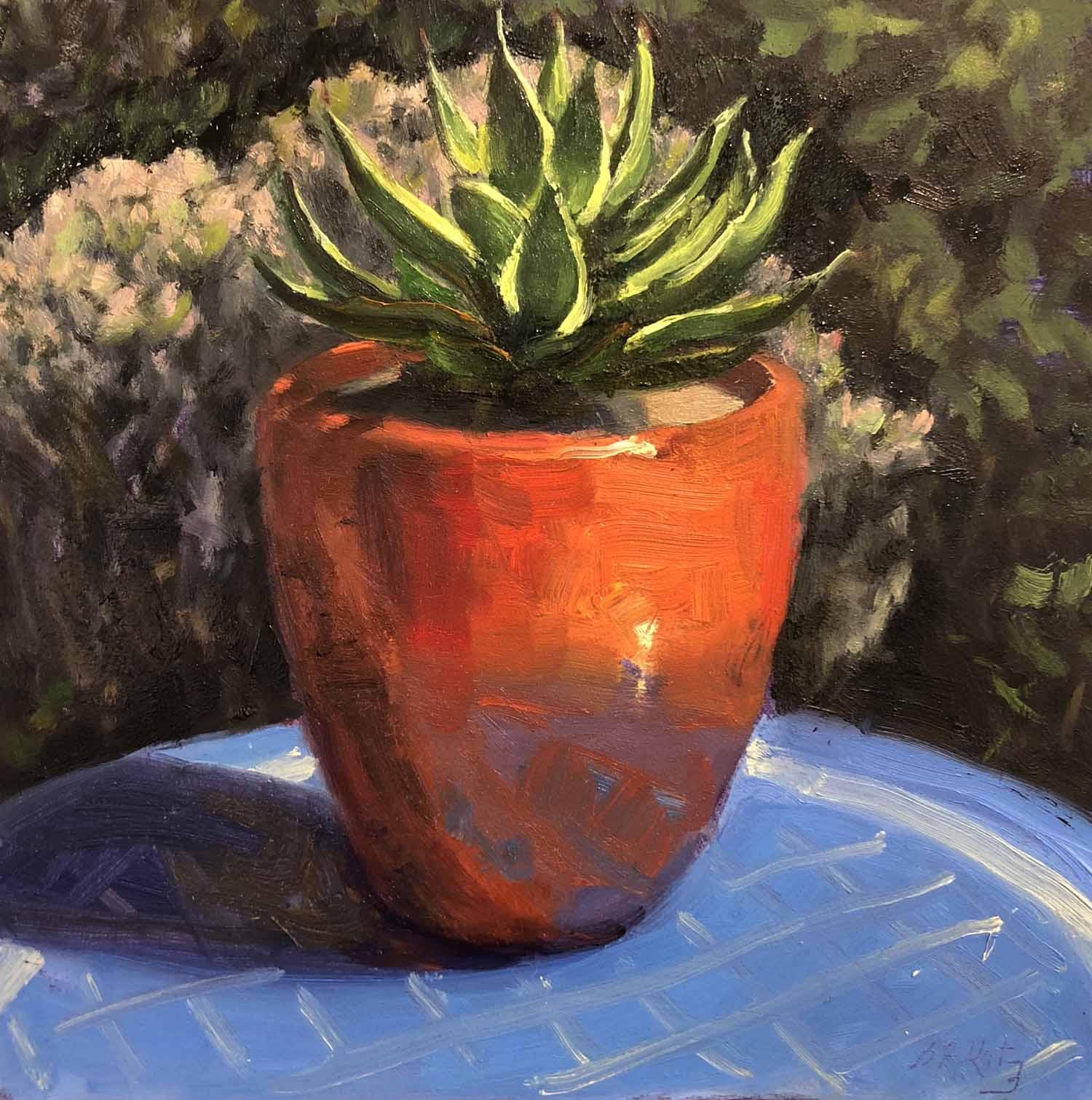 Succulent in a Red Pot