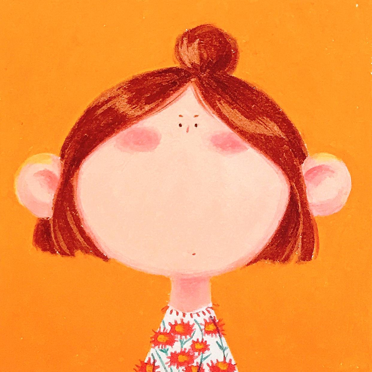 Big Face, Tiny Eyes - Orange