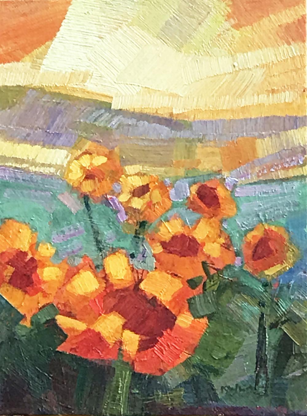 Sunflowers and Peach Sky