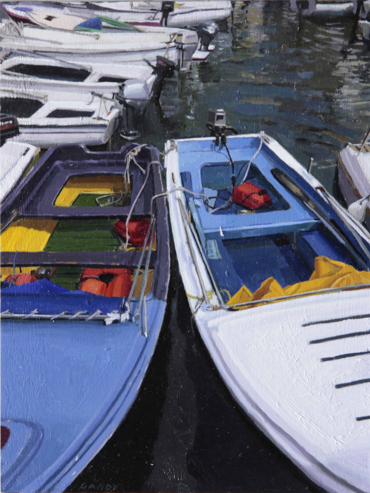 Blue and Yellow Boats