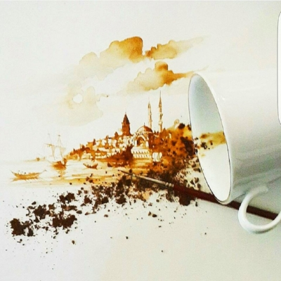 His subjects are predominantly water scenes and cityscapes of Istanbul, and he hand-paints all of his art using a small artist's brush and no magnifying glass.