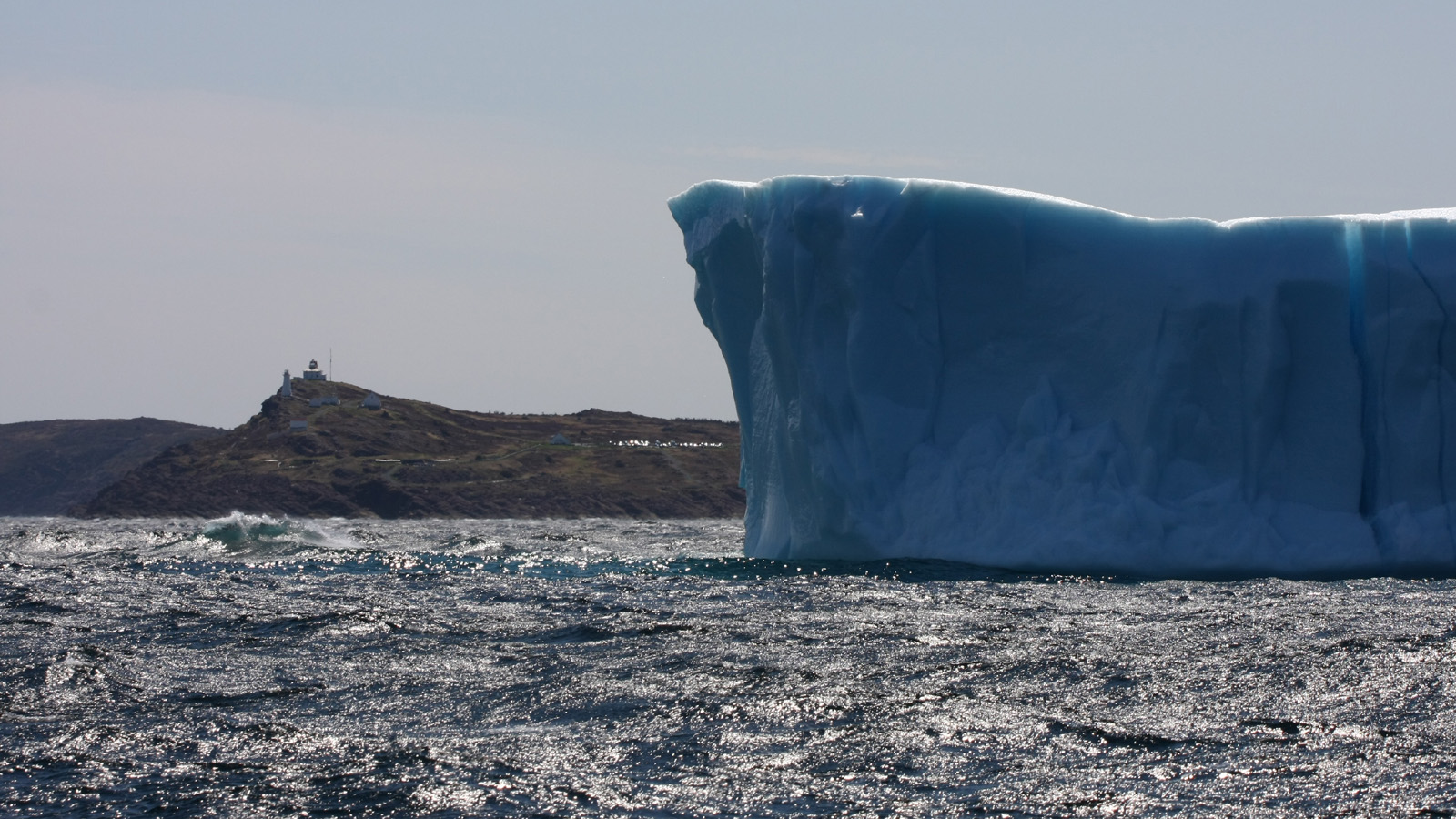One of the perks flying into St. John's is the chance to see icebergs. This one is sitting adjacent to Cape Spear, North America'a most eastern point.
