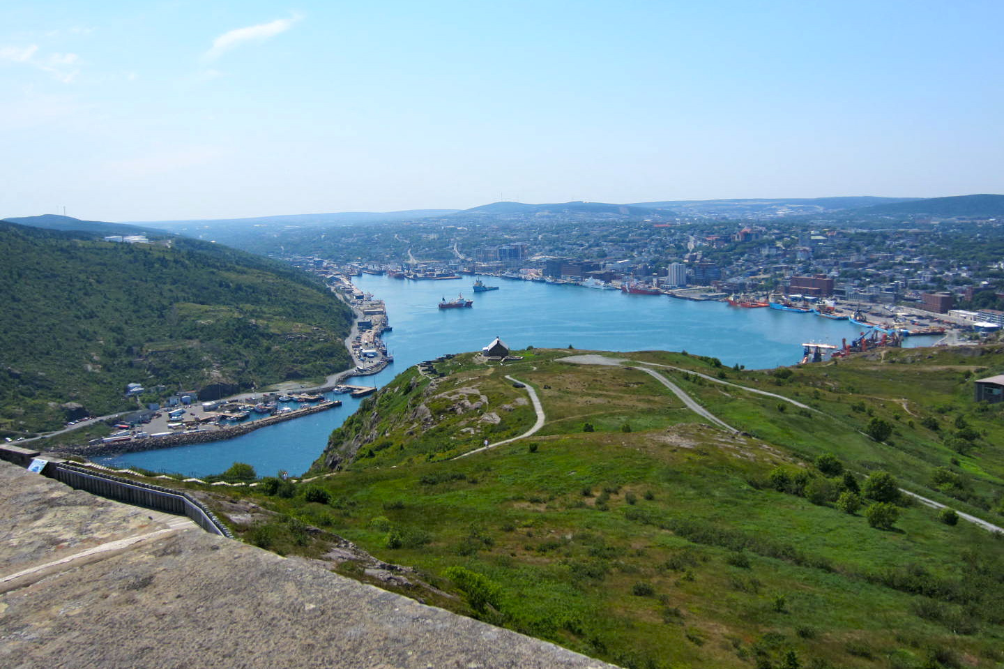 Overlooking the harbour and the city of St. John's on a good day from Signal Hill.