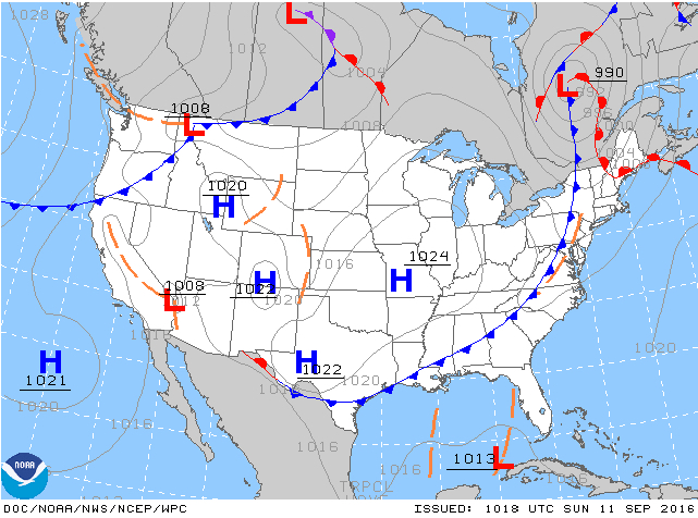 Cold front clears weather on eastern seaboard. Then (2001) and now (2016)