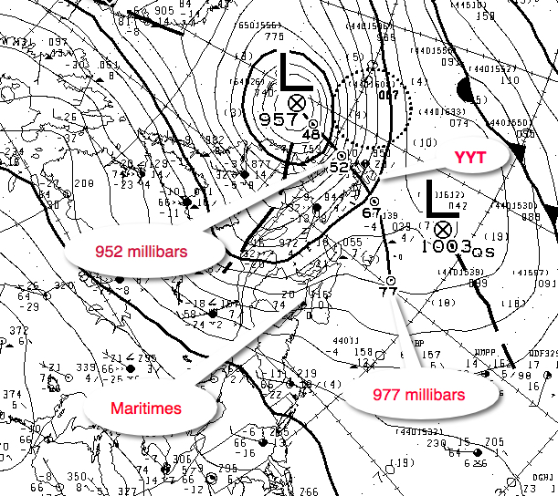 A wildly intensifying low pressure originated from The Cape Hatteras area and exploded as it tracked over Newfoundland into the Labrador Sea.