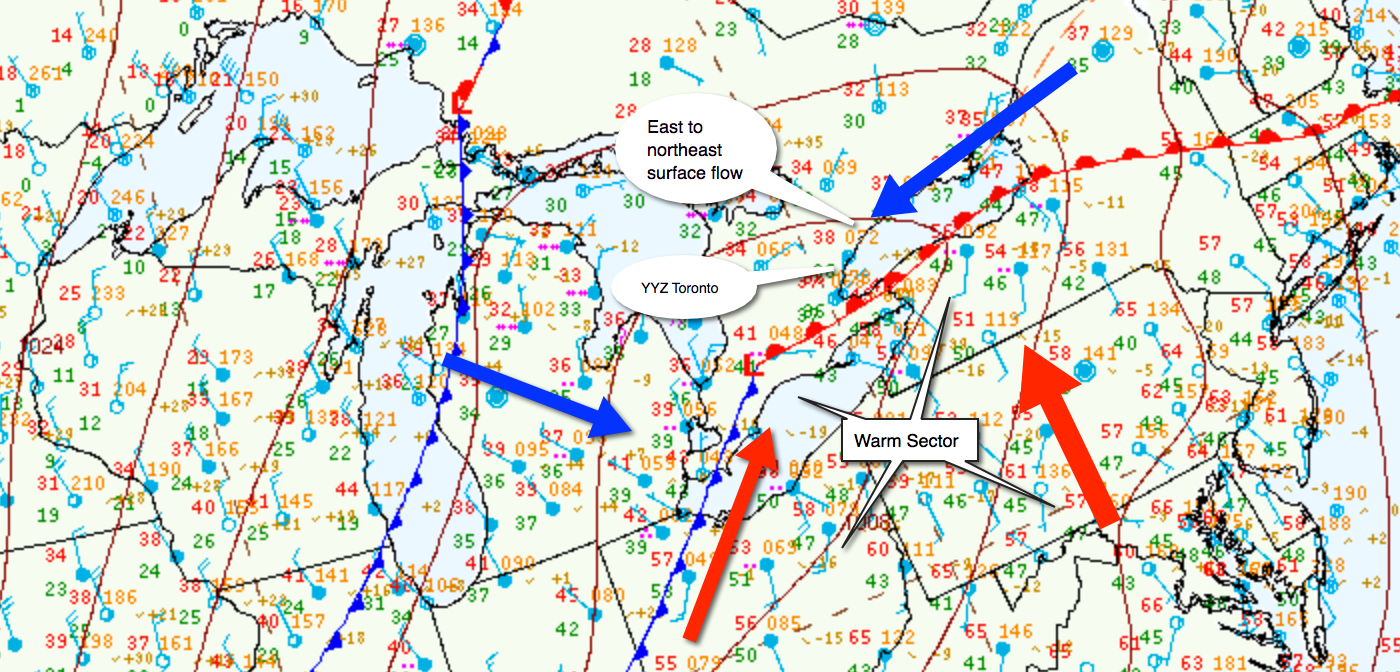 Surface analysis depicting a weak low pressure spreading an easterly flow over southern Ontario. An upper trough supporting this low, spread 25 to 45 knot southwest winds aloft at 3,000 to 5,000 feet.
