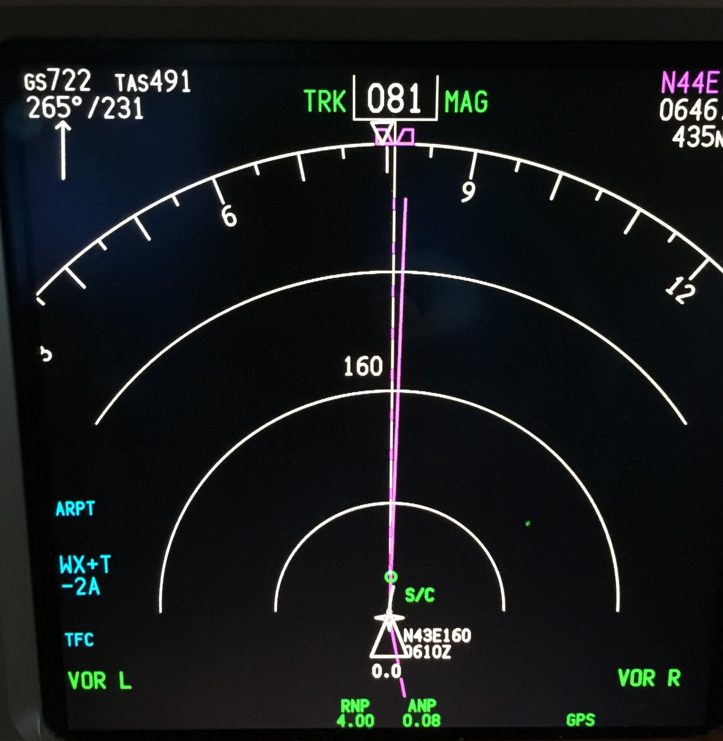 How is that for a jet stream? Look in the top left corner. The winds are from the west at 231 knots! This is over the Pacific Ocean notorious for strong winds. This pic was given to me from a pilot in AC's new hire course.
