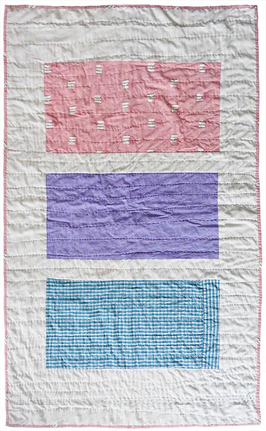 """Milwaukee Women's Center Quilt 1, 2018, 35"""" x 58""""   cotton / salvaged women's sheet, men's dress shirt"""