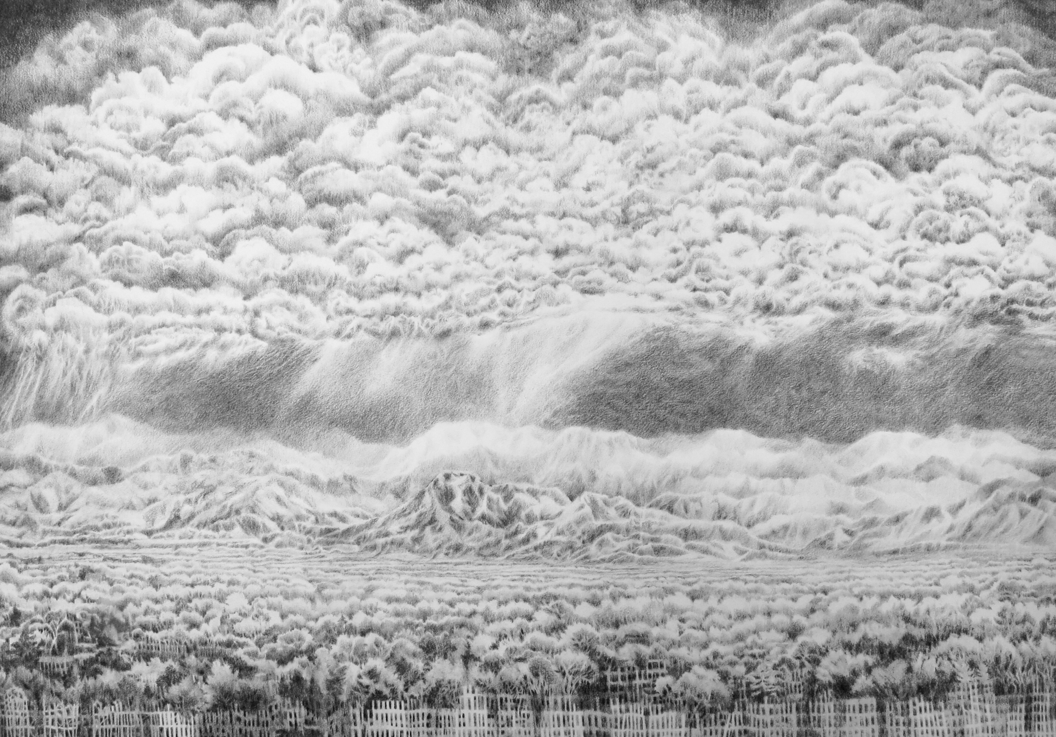 """Front Range Memory Experiment (from home), Graphite on paper, 18"""" x 26"""", 2016."""