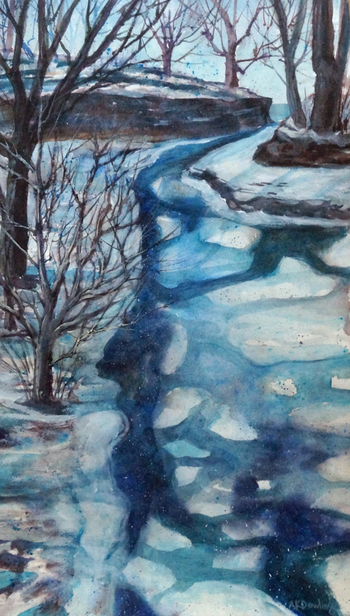 Slippery Rock Creek  Portland, NY  Watercolor AKDowling