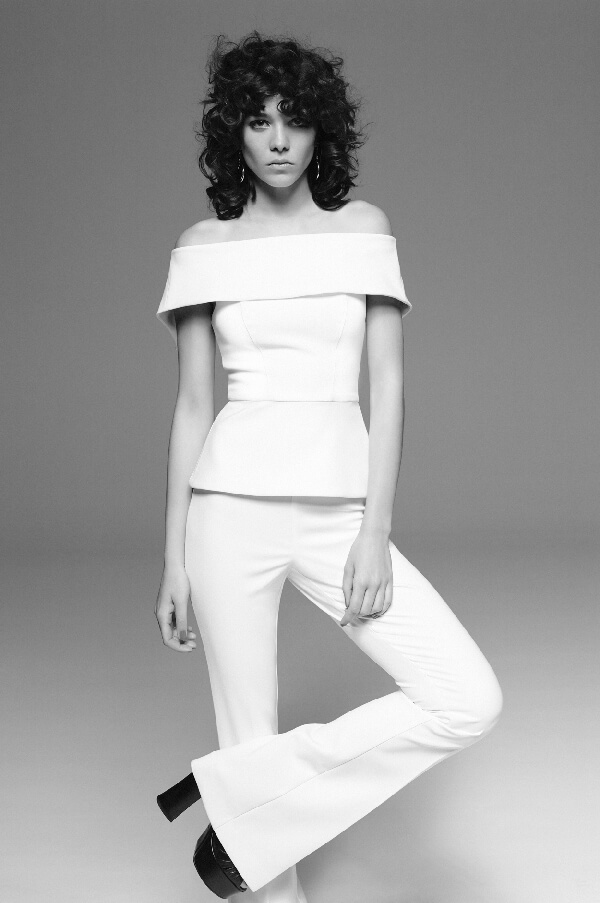 Made from Tech Stretch fabric,  Off the Shoulder Top ,  White Flared Pants.