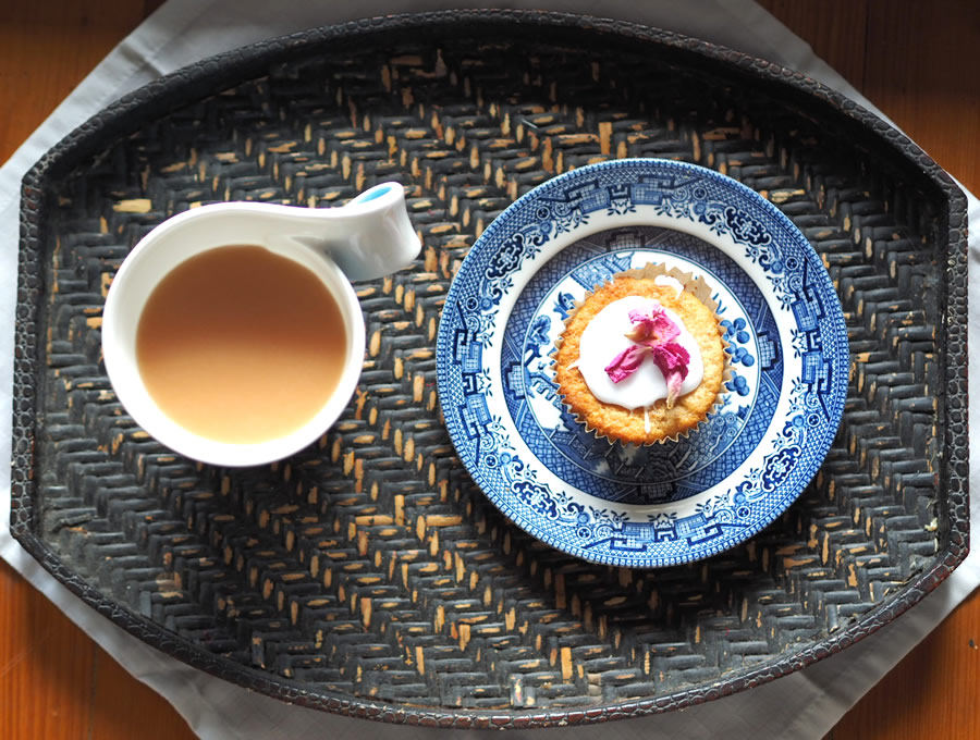A morning tea tray filled with sunshine and indulgence - fragrant English Breakfast tea with cashew milk and a rosewater scented patty cake. What could be nicer as a mid-morning pick-me-up?