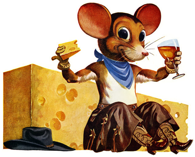 We reckon this debonair mouse, from a 1949 ad for Petri Wine, would prefer nut cheese over dairy cheese too - just like us.