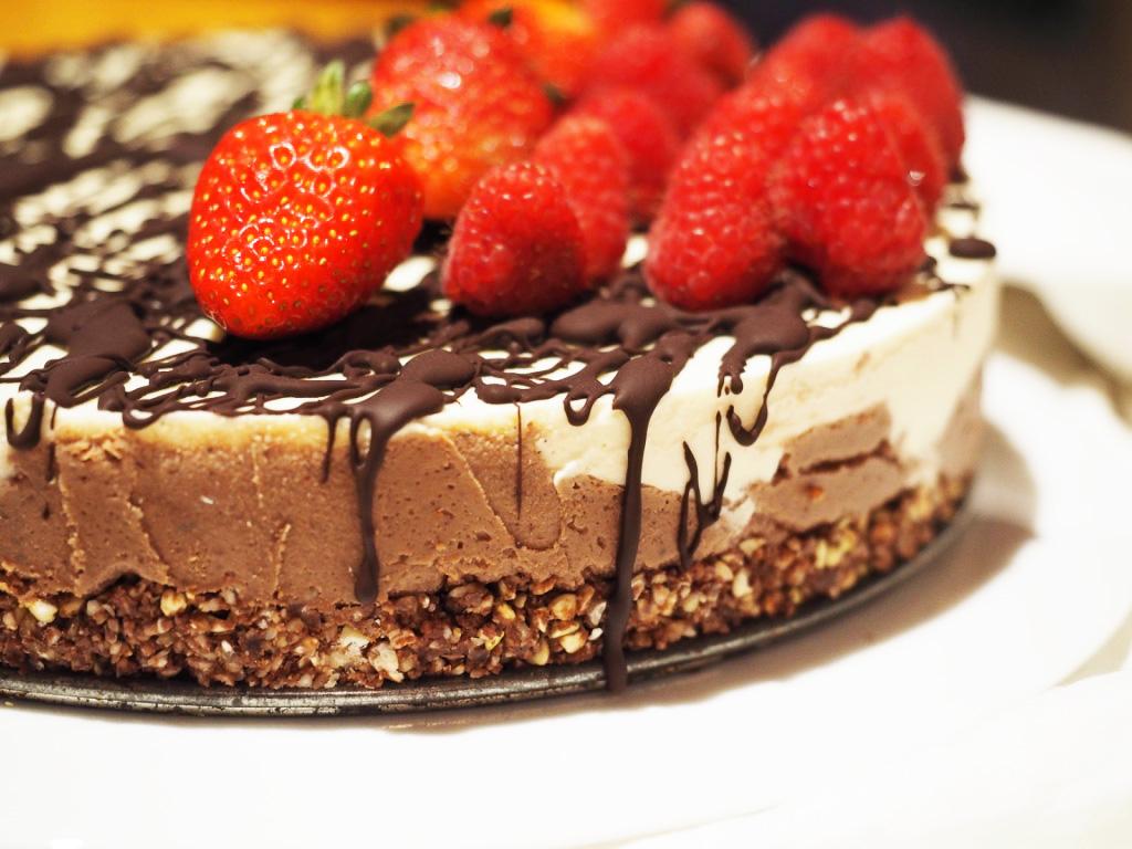 vegan layer cream pie walnut chocolate orange