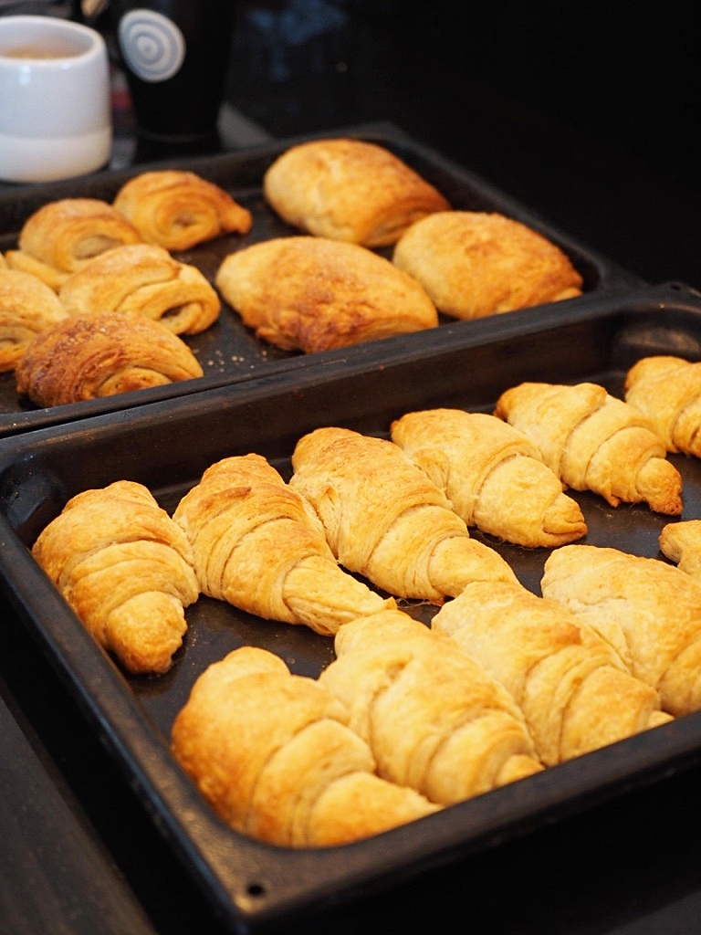 Vegan pain au chocolat ( in the tray at the back) can easily be made from the same recipe.