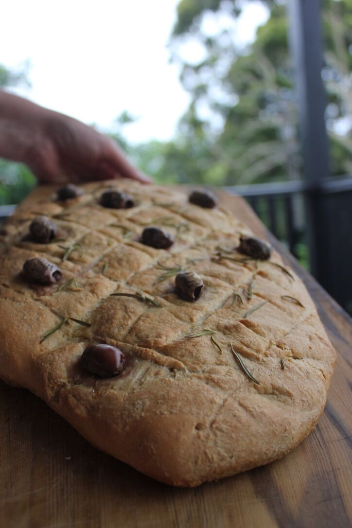 Served warm from the oven, this focaccia is fluffy and chewy - achieved by the combination of spelt and wheat flours.