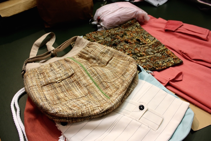Suit jackets being given new life as handbags, backpacks, skirts and even a cushion cover.