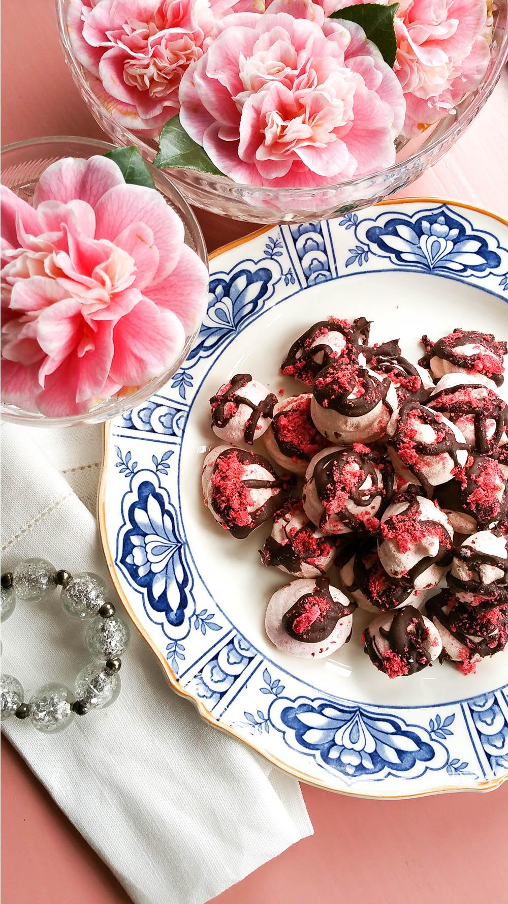 Strawberry Rose Meringue Kisses - (egg-free // vegan)