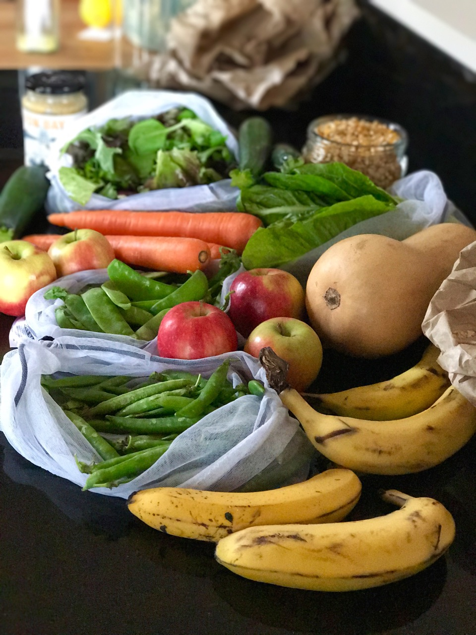Last week's fruit & veggie shop, packed in our ONYA produce bags, made from recycled plastic bottles.
