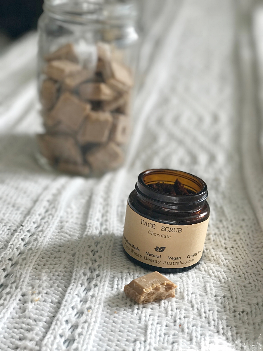 Chocolate face scrub not only smells delicious, but it's vegan, eco-friendly and made with natural ingredients.