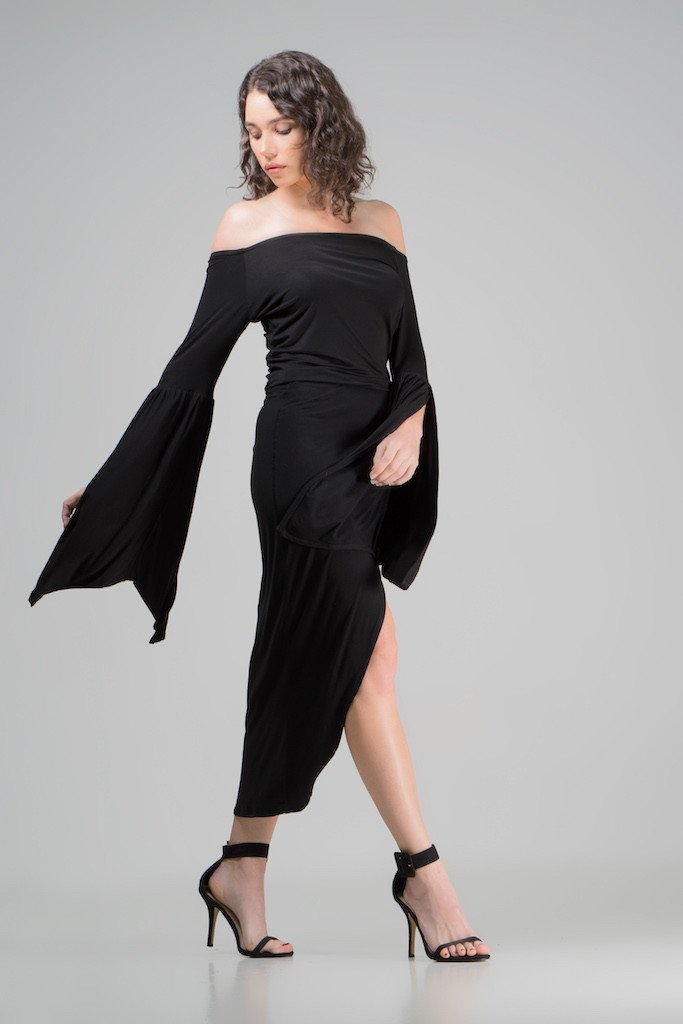 Eco-friendly sustainable black dress made in Australia from organic bamboo, by Indecisive.