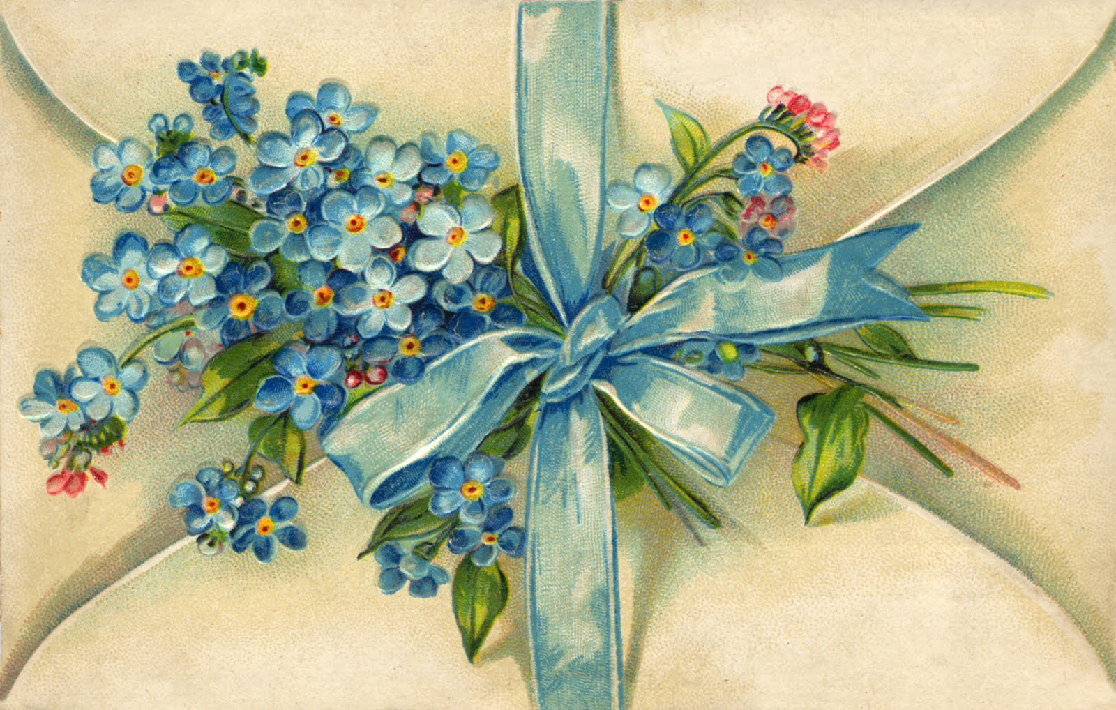 A Romantic Favourite - Forget Me Nots were often used as a decoration in Edwardian romantic stationery,like this postcard from the turn of the 20th century.