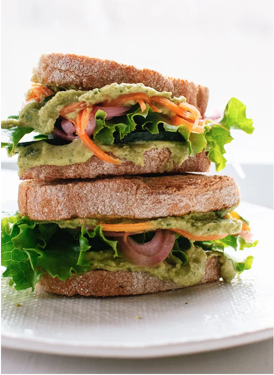 5: green goddess hummus on toasted bread - Toasted wholegrain bread, slathered with creamy green goddess hummus and crispy pickled veggies...