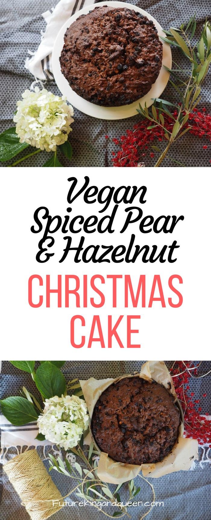 Vegan Spiced Pear and Hazelnut Christmas Cake Recipe Idea