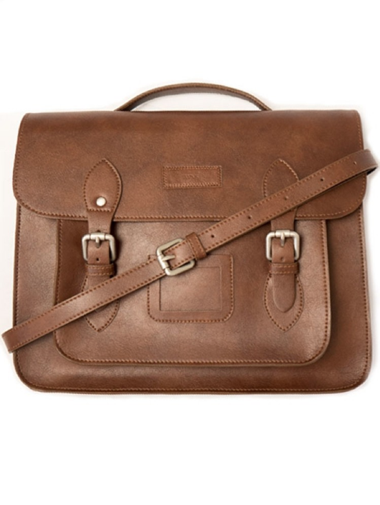 Will's Vegan Shoes - Made in Portugal in fair working conditions, this nutty brown Chestnut satchel is made from high quality vegan leather. A classic gift for a stylish man, and one to treasure.