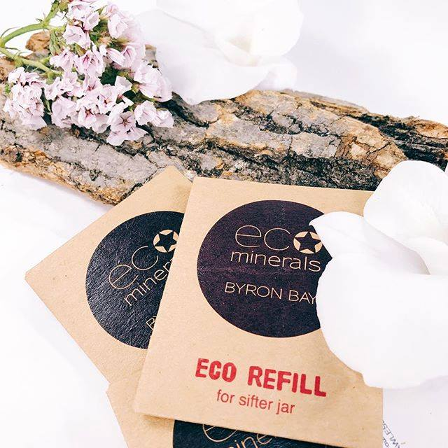 ECO Minerals plastic-free refill sachets (made from cardboard with clear cellulose bags inside). Image  @allnaturalcollection