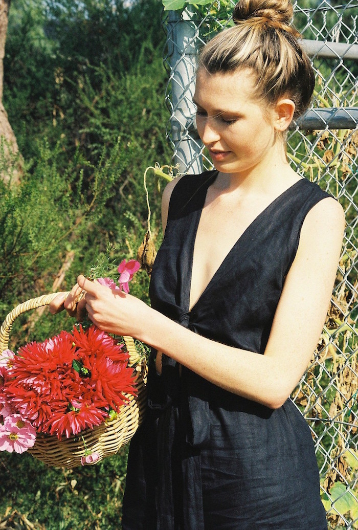 100% linen jumpsuit by Bedroom The Label. Made ethically in Melbourne, Australia.