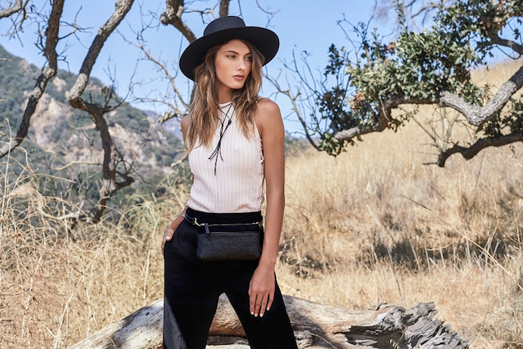 Vegan leather belt bag / stylish fanny pack made in America from sustainable material Pinatex.
