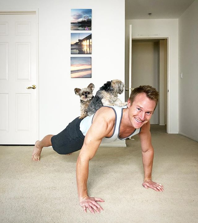 PUPPIES!! Aaaand now that I have your attention... @puppiesnplanksfest is THIS weekend w/ @blogilates 💪🏼 It WILL be adorable. You should be there, so check it out!! 🐶  Thank you @titojane for letting me borrow the pups!! At least one of them was impressed... 🤣🤷🏼‍♂️ #puppies #planks #workoutbuddy