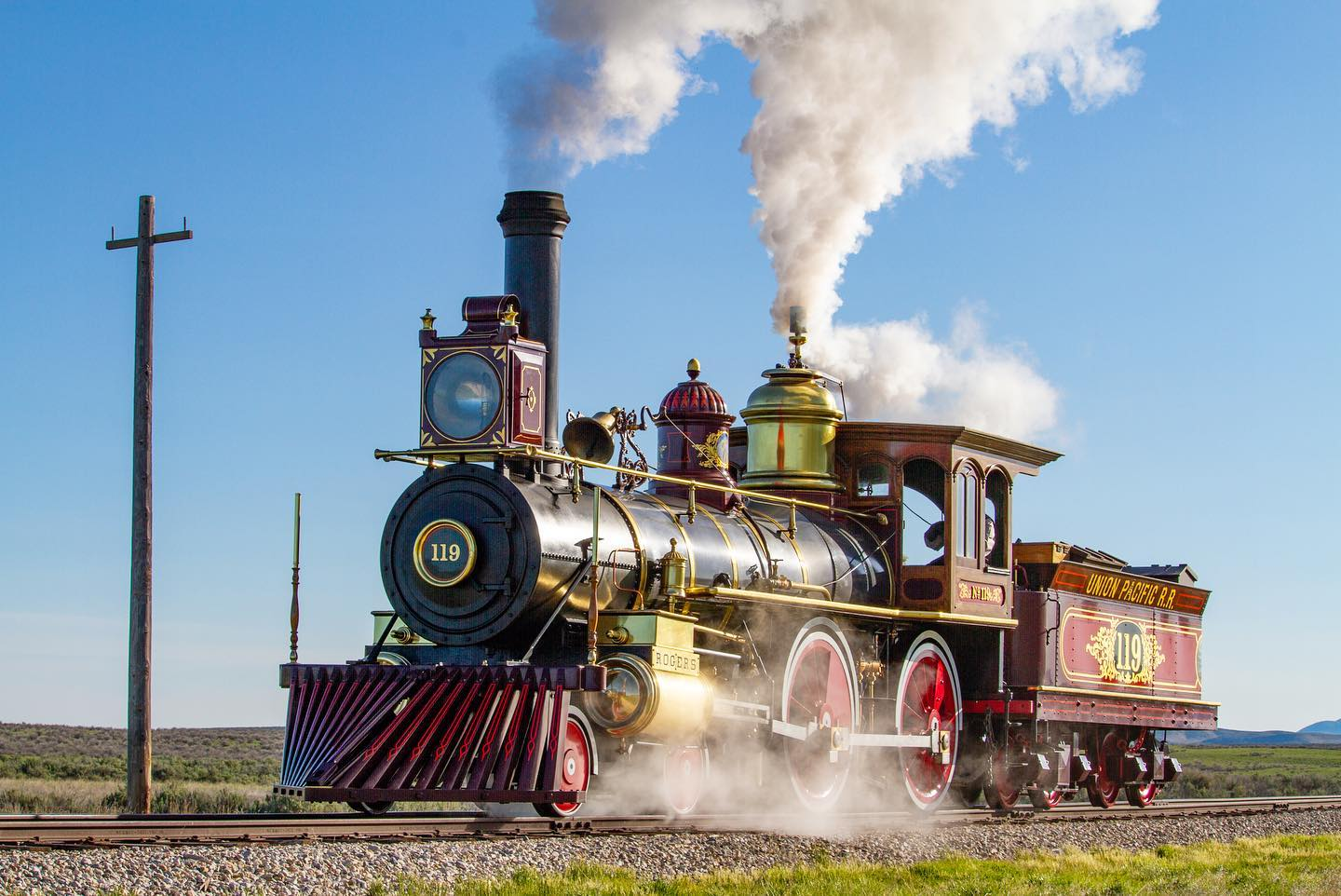 Union Pacific No. 119, a replica of one of the original locomotives on-site in 1869. Maxwell Hamberger photo.
