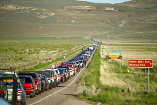 Traffic on the morning of May 10, 2019. Golden Spike National Historic Site is still eight miles farther down the road. Maxwell Hamberger photo