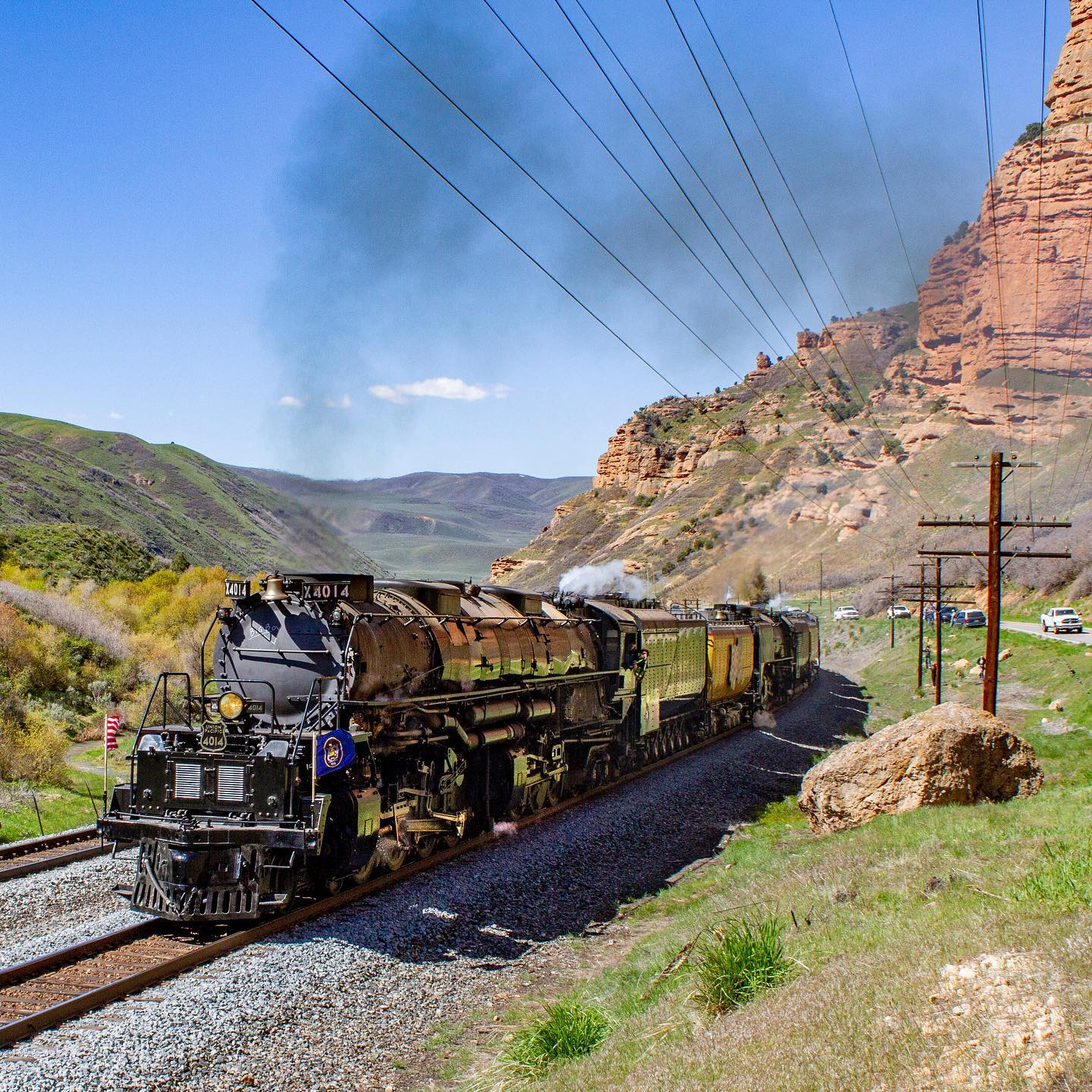 4014 and 844 in Echo Canyon, May 12, 2019. Maxwell Hamberger photo