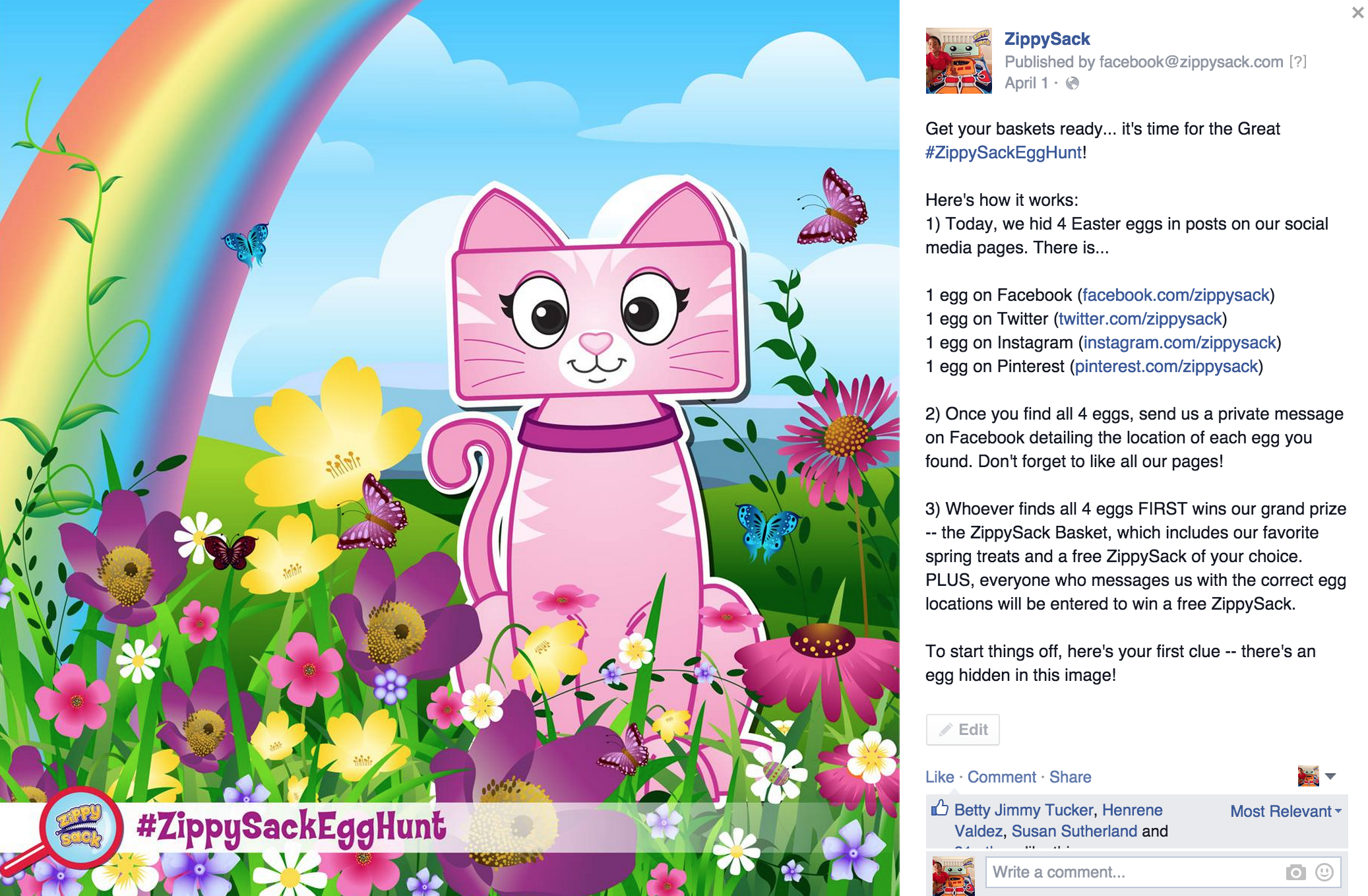 Facebook: The Great ZippySack Egg Hunt