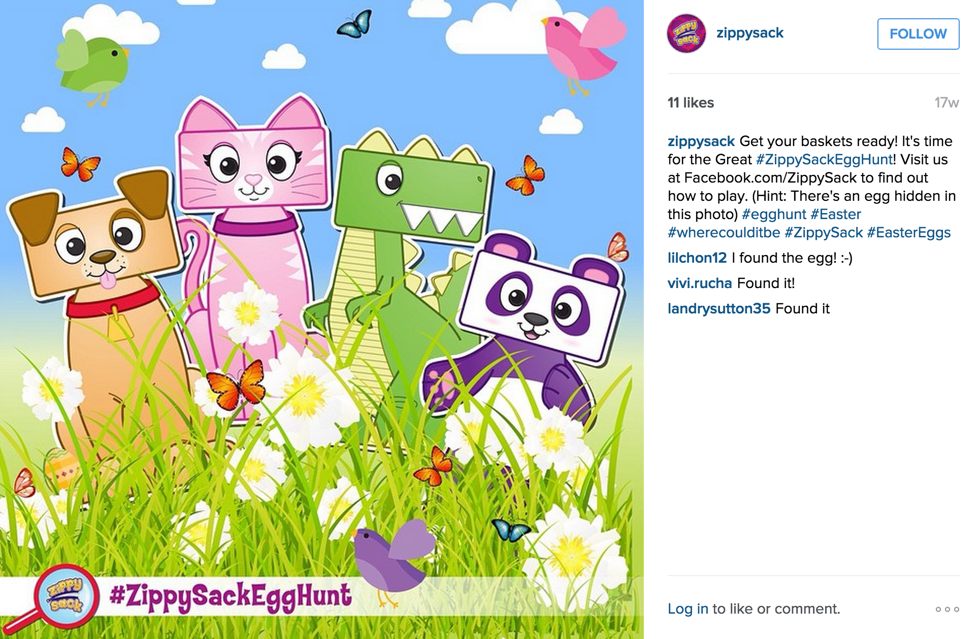 Instagram: The Great ZippySack Egg Hunt