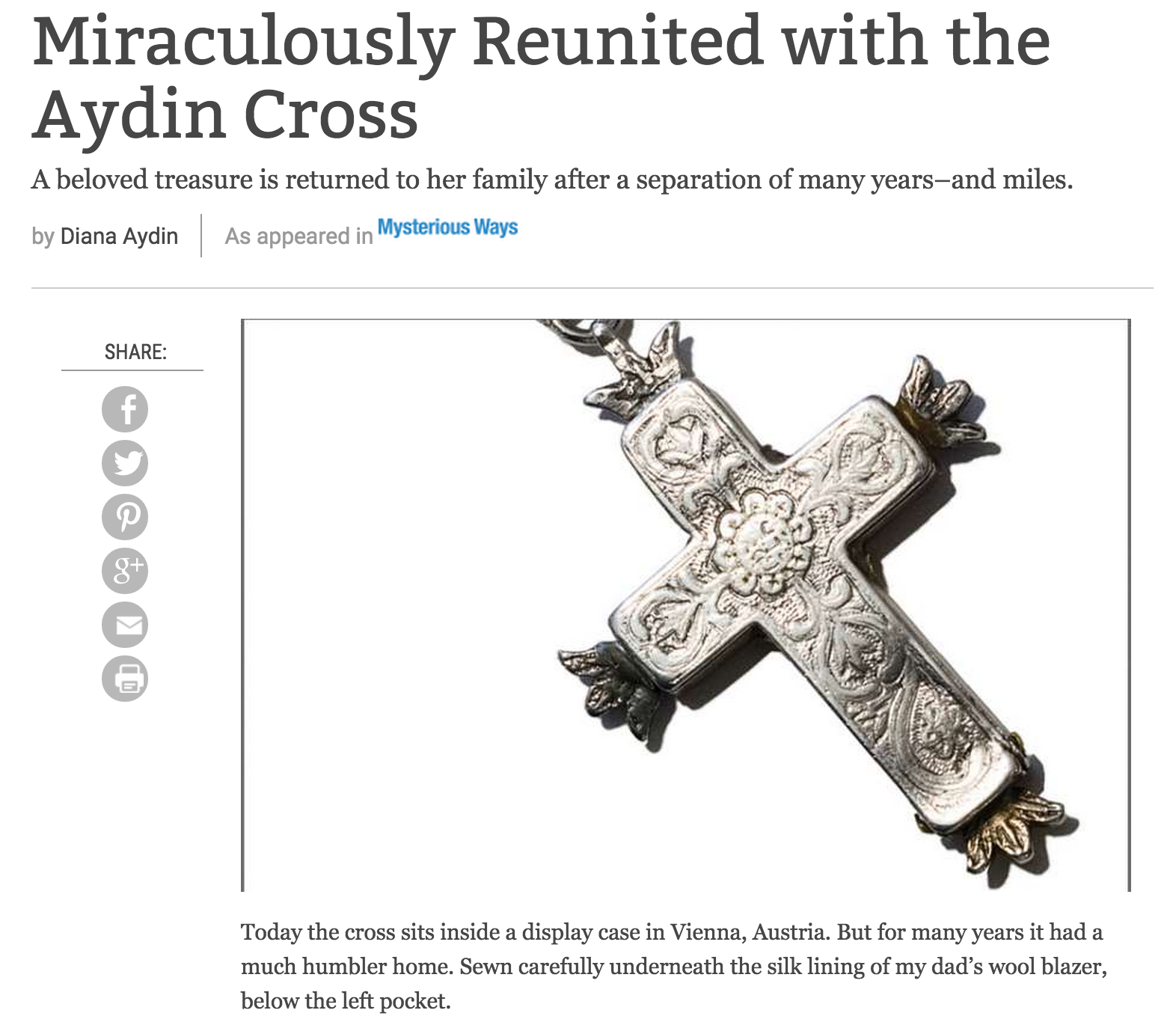 Miraculously Reunited with the Aydin Cross
