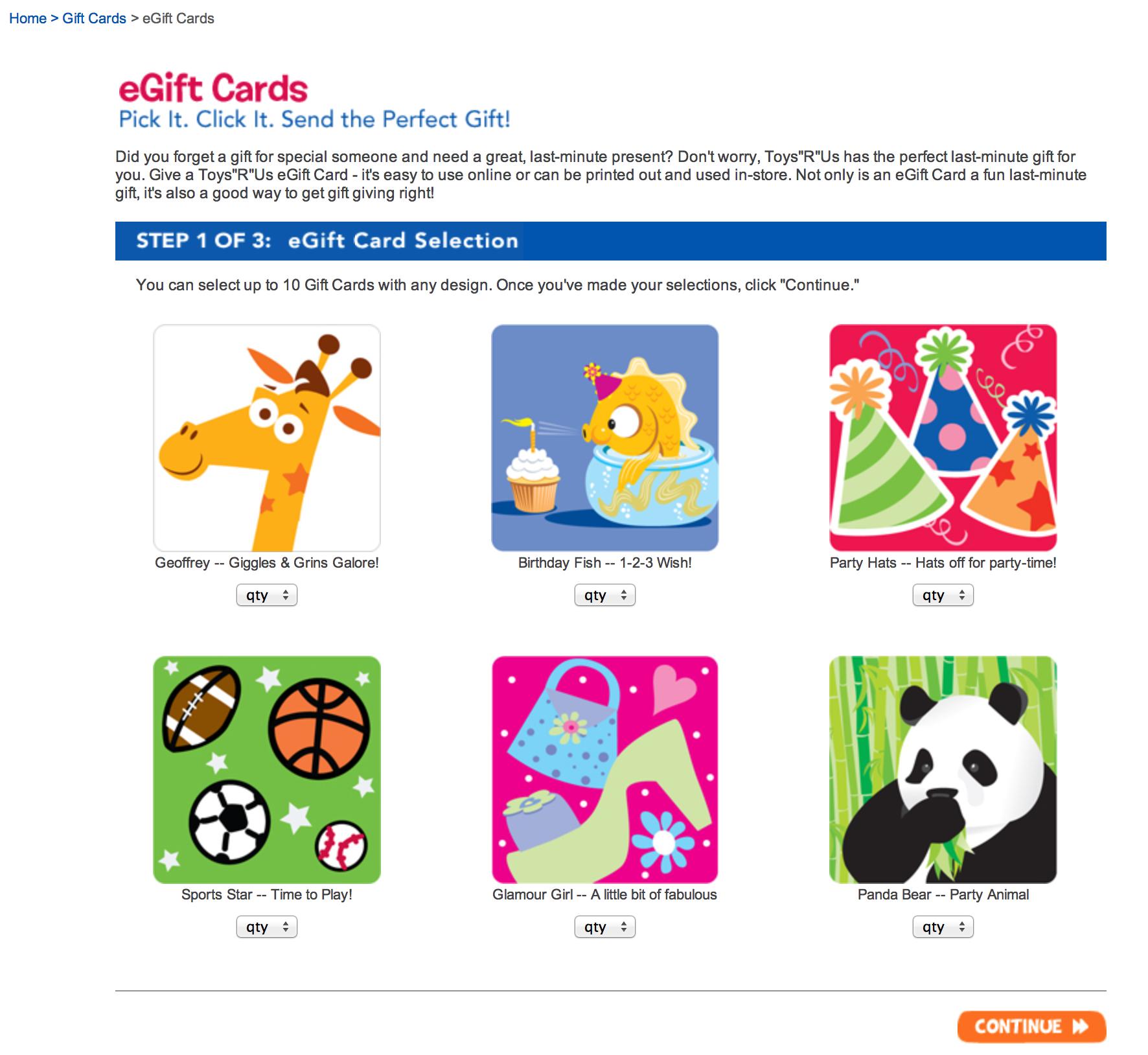 Website: eGift Cards