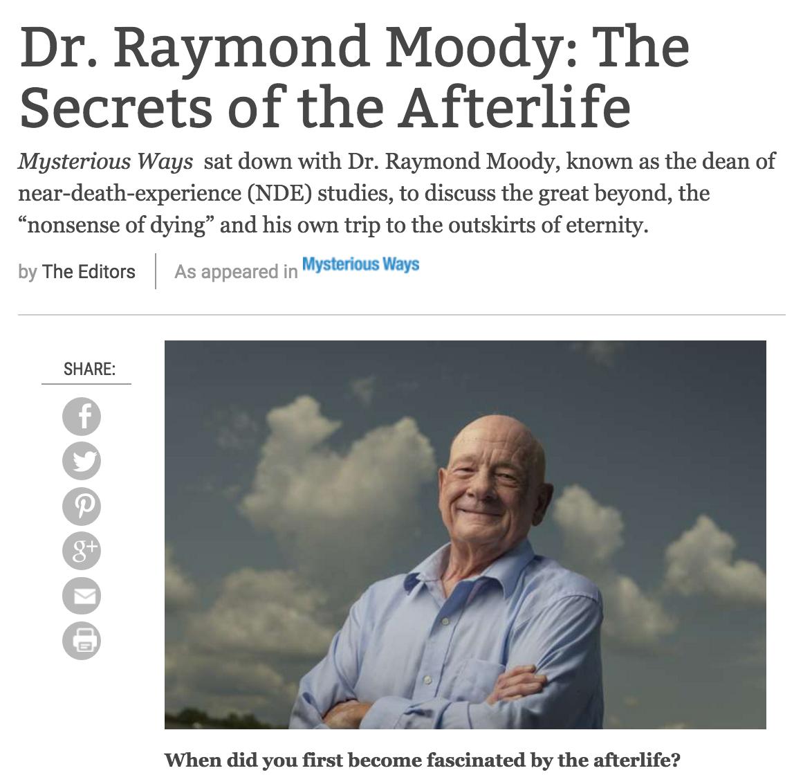 Q&A: Dr. Raymond Moody