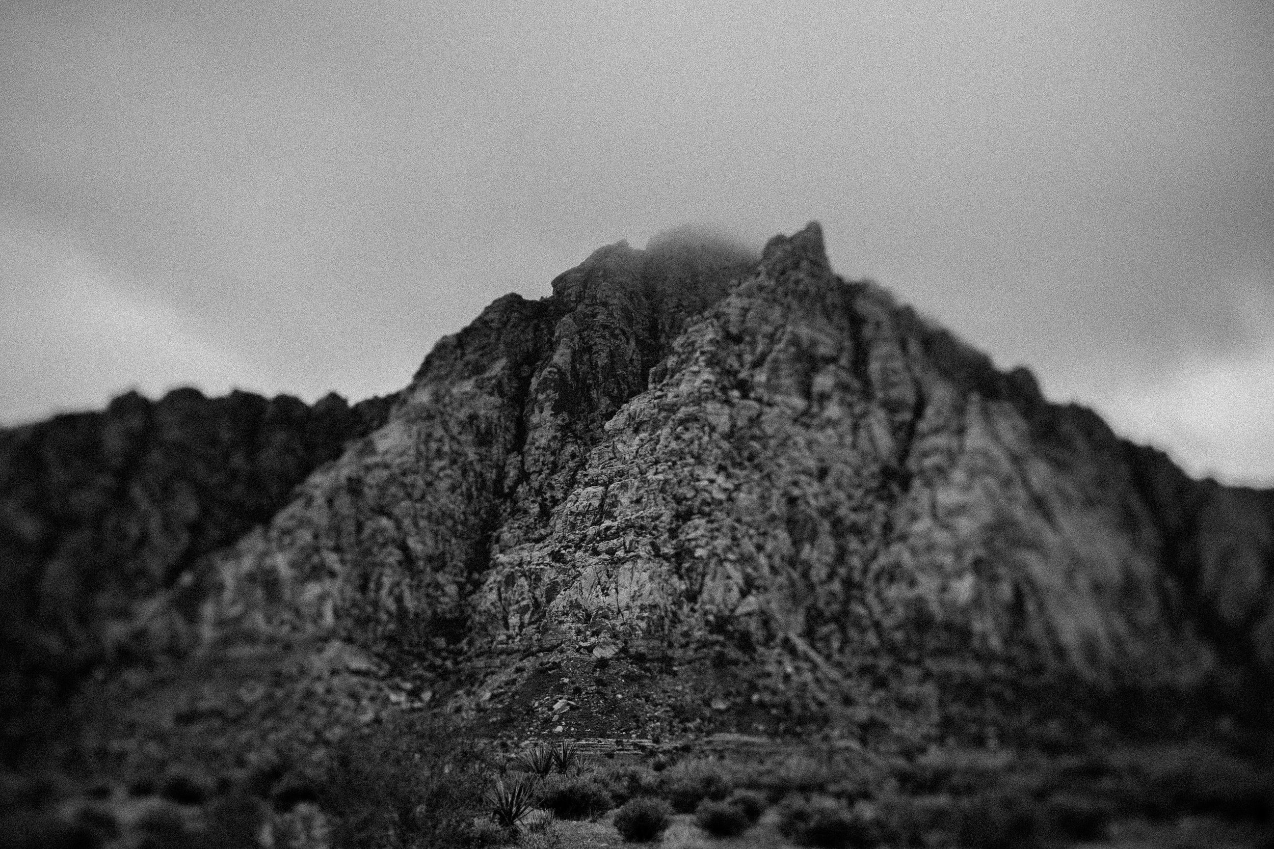 black and white photo Red Rock Canyon mountains fog